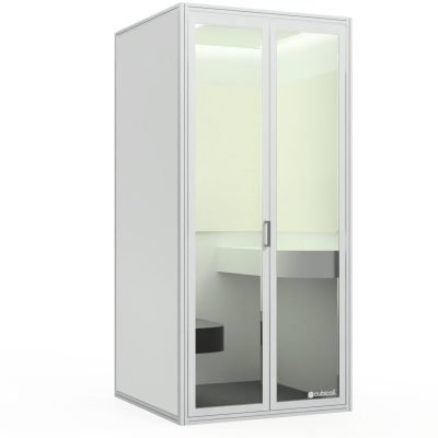 A modern sized phone booth accommodating up to two persons