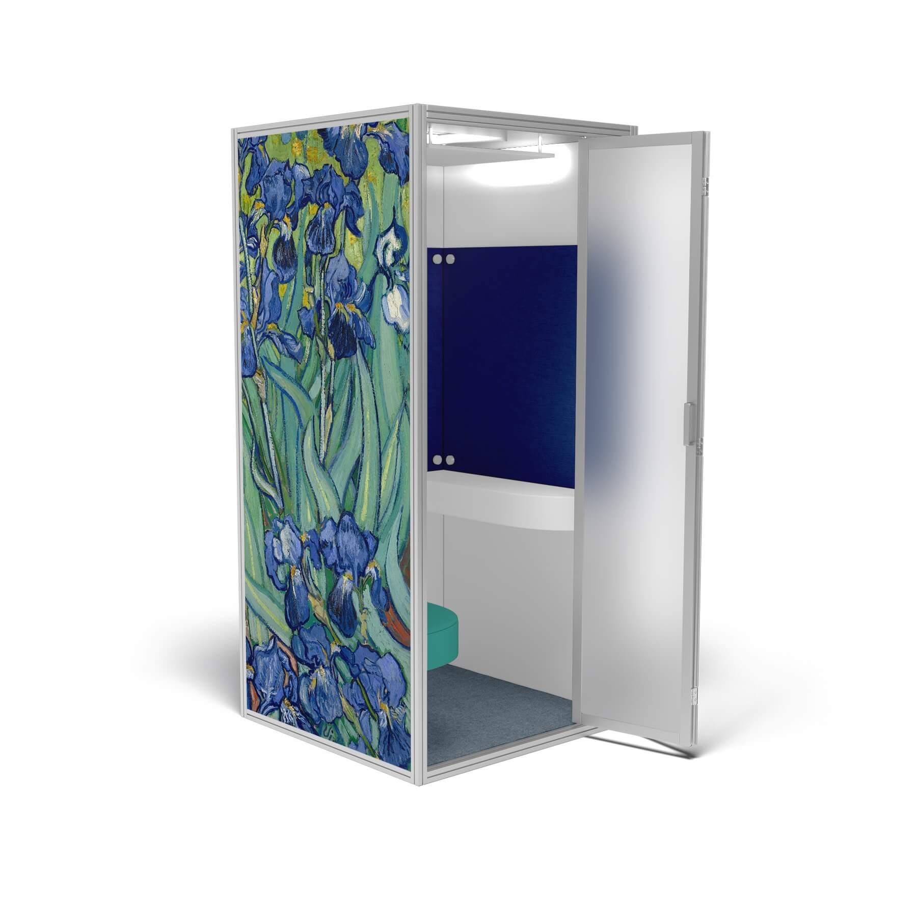 modern phone booth van gogh irises